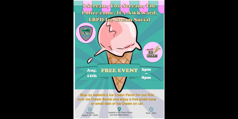 Image for LBPD to Host Ice Cream Social at Isabella's Ice Cream Parlor