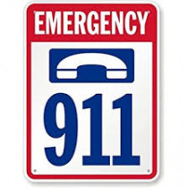 Sign with phone and emergency 911